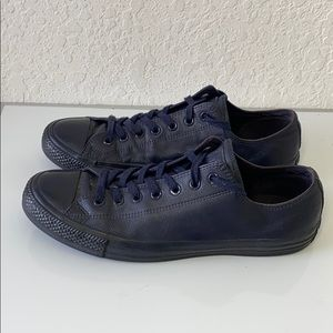 ✅Men Converse Chuck Taylor Navy Leather Shoes 12